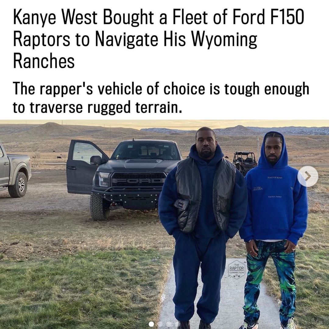 Cody Mathes On Instagram The Reports Said Kanye West Has Gotten Up To 6 Raptors For His New Ranch In Wyoming Who Needs A Fleet Of R In 2020 Fleet Wyoming Kanye West