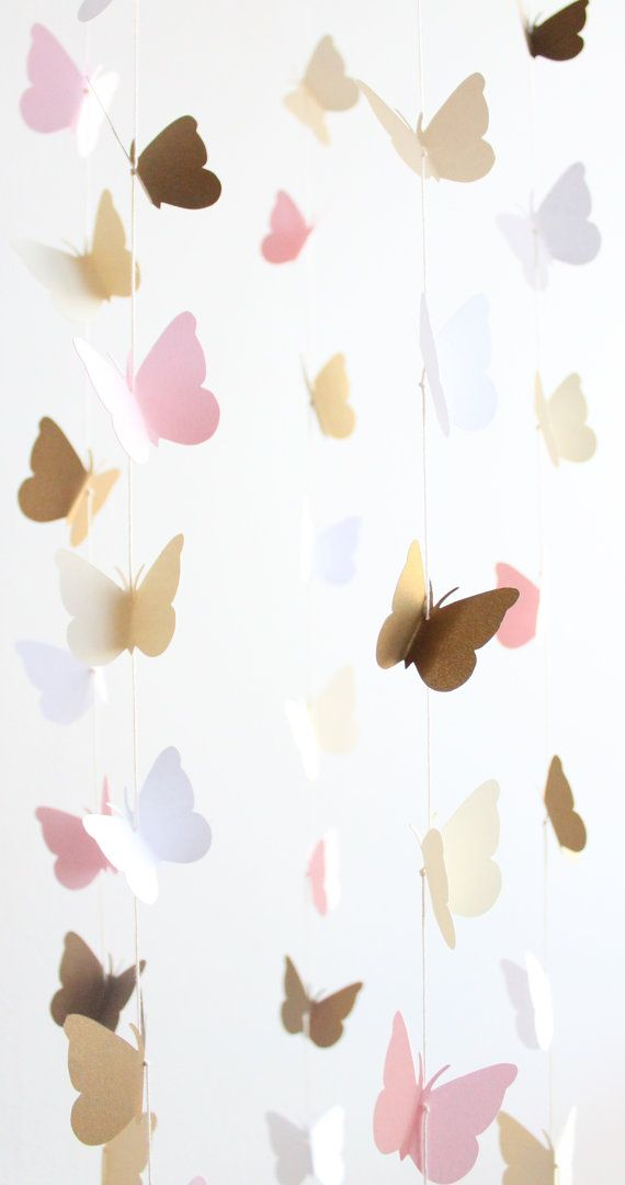 Gold and Pink Butterfly Mobile Baby Girl Nursery Crib Cream Toddler Room Decor Home #toddlerrooms