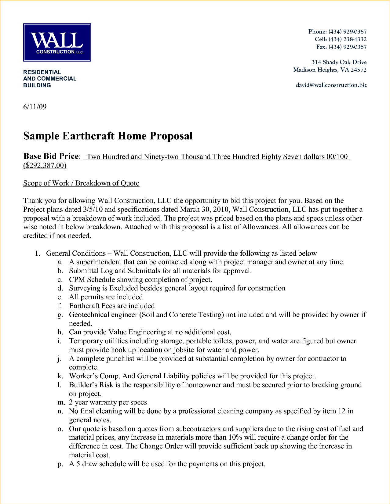 construction proposal example 31 construction proposal template