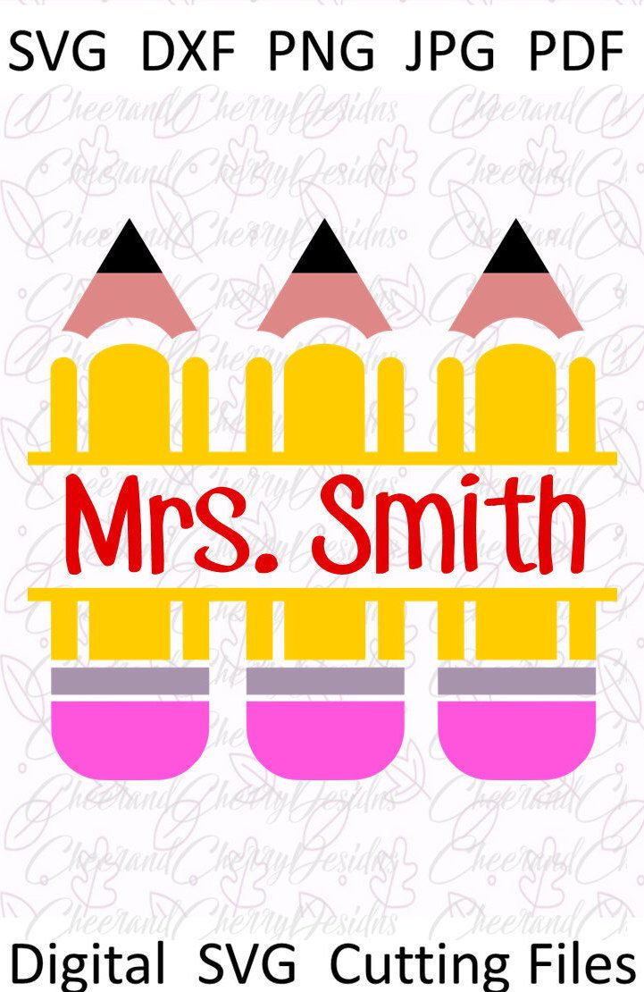 Split pencils monogram SVG Pencil Svg Teacher monogram svg Pencil ...