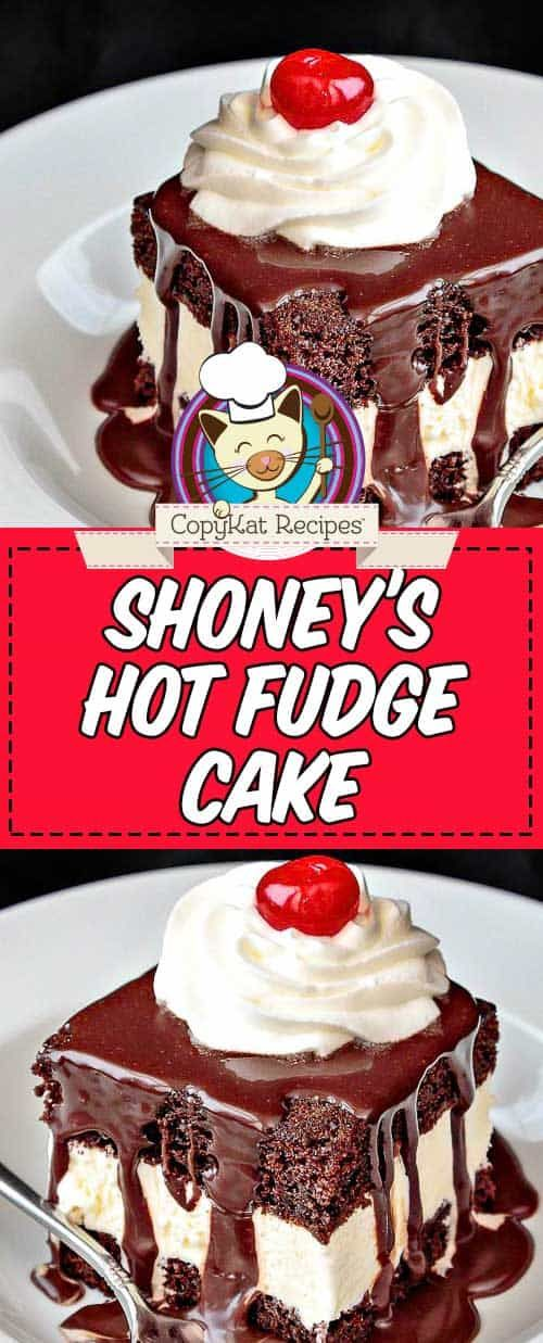 Shoney's Hot Fudge Cake Make an incredible Shoneys Hot Fudge Cake at home with this easy copycat recipe. The best dessert with vanilla ice cream sandwiched between chocolate cake layers and covered in homemade hot fudge sauce and whipped cream. It's simply divine! Super easy cake to bake with a box mix plus a few simple ingredients.