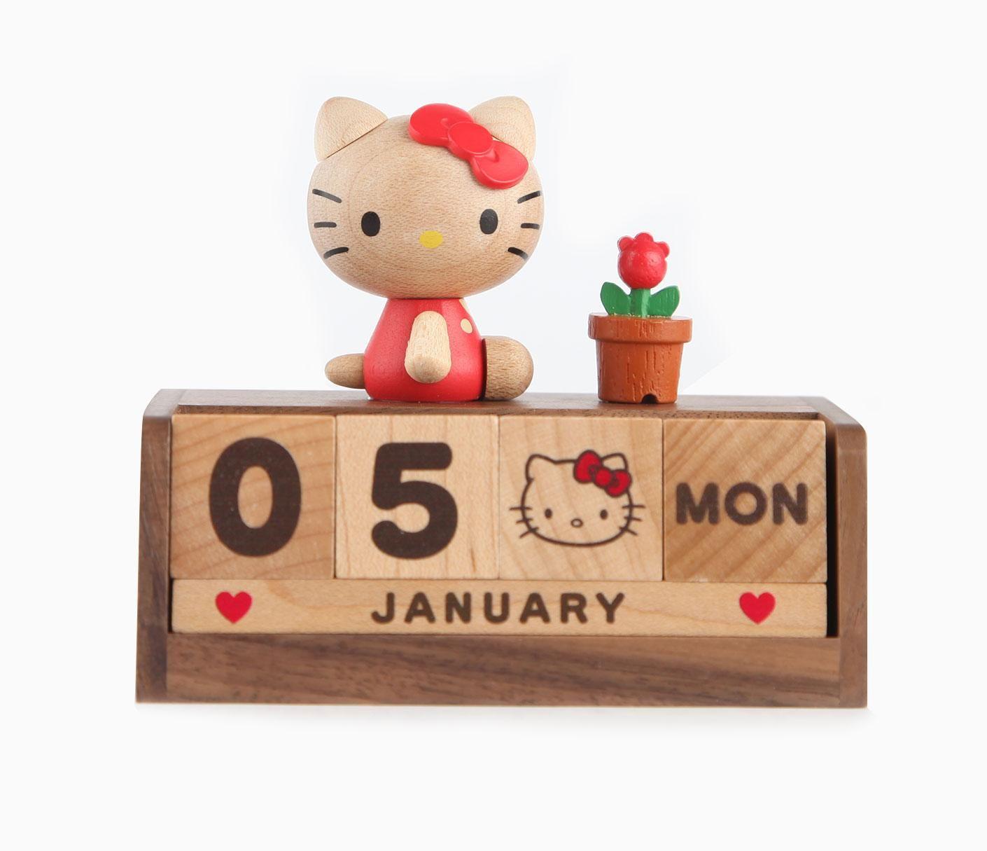Hello Kitty Perpetual Calendar Natural Wood Hello Kitty