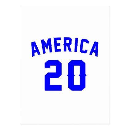 #America 20 Birthday Designs Postcard - #giftidea #gift #present #idea #number #twenty #twentieth #bday #birthday #20thbirthday #party #anniversary #20th