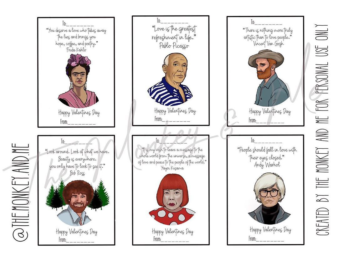 Elizabeth Allums On Instagram Get This Famous Artist Valentine Download From My Etsy Shop And Share The Art Love With Your Fr Famous Artists Valentine Artist