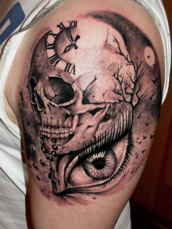 60 Best Skull Tattoos Meanings Ideas And Designs 2016 Skull Sleeve Tattoos Half Sleeve Tattoos For Guys Skull Tattoo Design