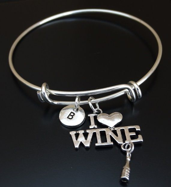 92a7ffea08002 Wine Bangle Bracelet, Adjustable Expandable Bangle Bracelet, Wine ...