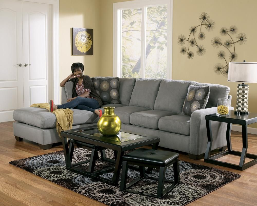 Zella charcoal contemporary sectional sofa with left arm for Furniture stores in burbank