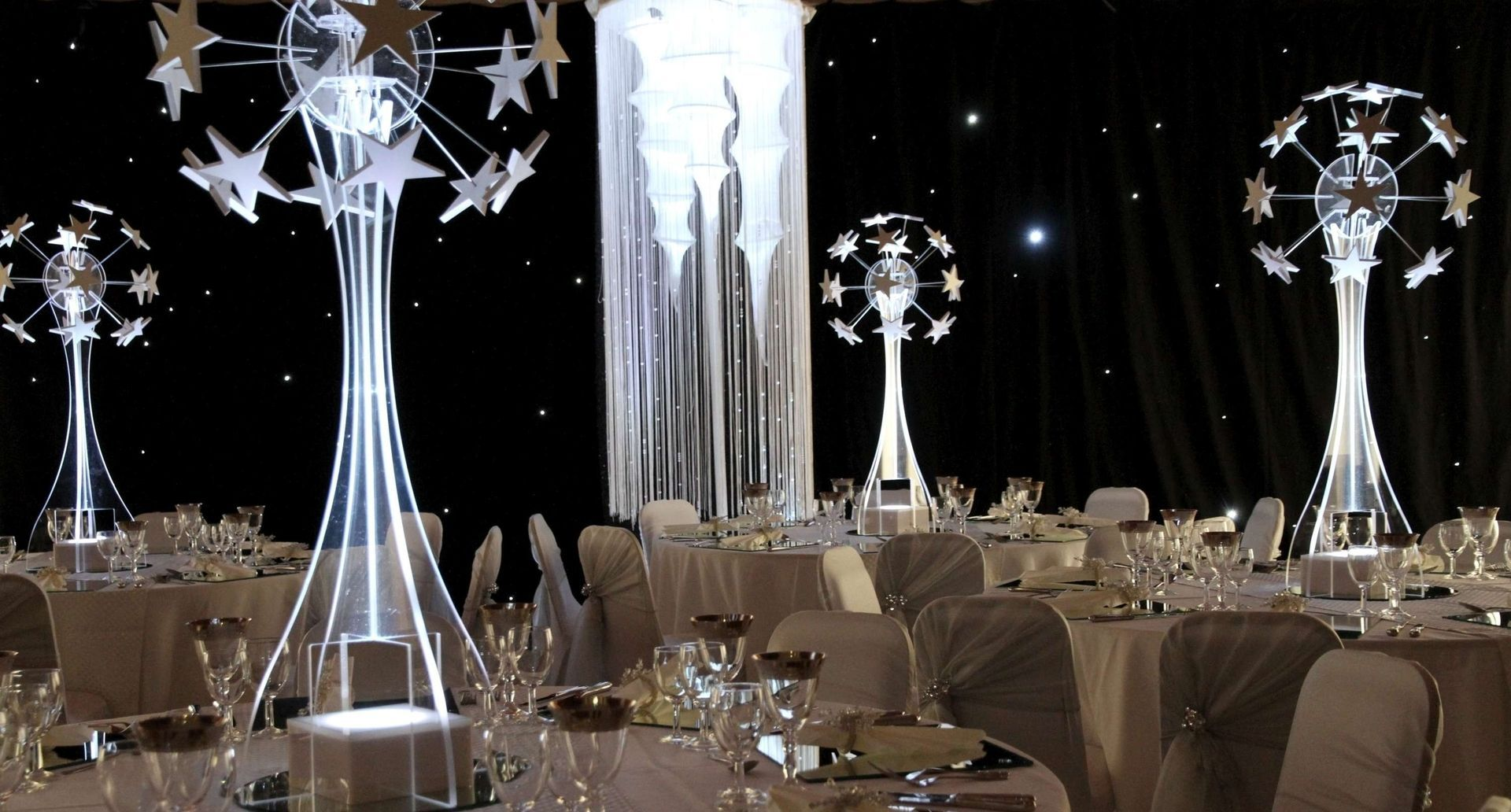 Star Globe Table Centrepieces, That Can Be Lit In A Colour Of Your Choice