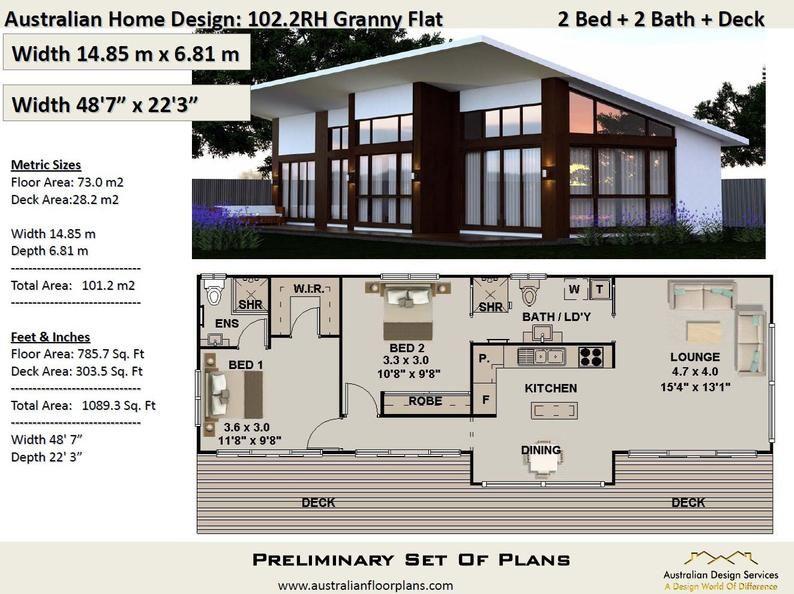 101 2 M2 Or 1089 Sq Foot Australian 2 Bedroom House Plan Etsy In 2021 Cottage House Plans 2 Bedroom House Plans Guest House Plans