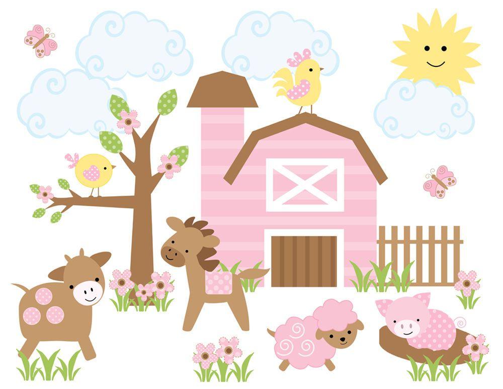 Details About Farm Animal Baby Nursery Decor Pink Girl Barnyard - Barnyard nursery wall decals