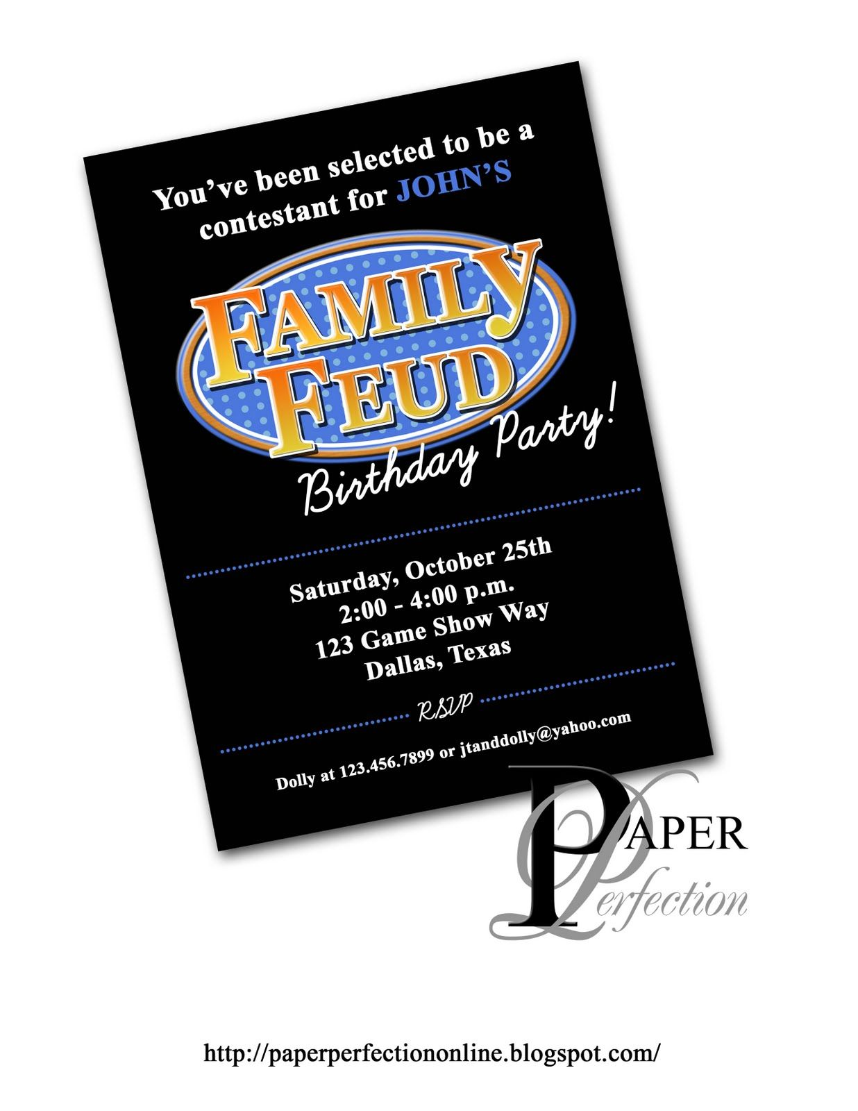Paper Perfection: Family Feud Birthday Party Invitation | christmas ...
