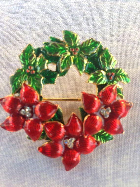 Vintage Christmas Wreath with Poinsettias Pin.