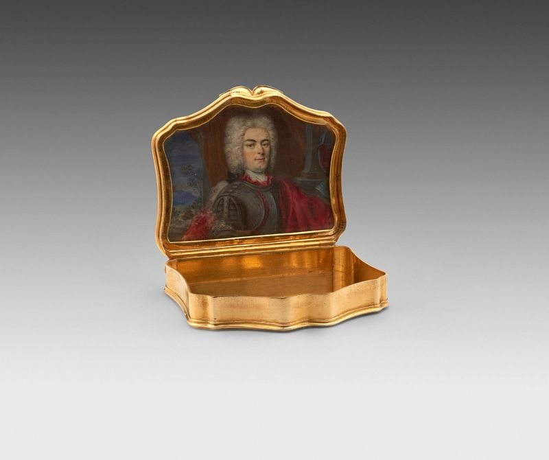 A George I gold box the lid interior with portrait miniature possibly of Handel. Circa 1720.