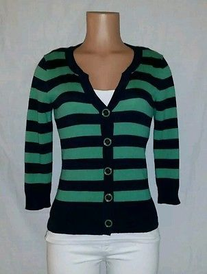 LIZ & CO Womens Green/Navy Blue Striped Button Up Sweater 3/4 ...