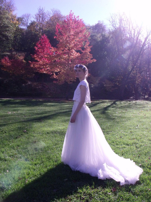 Bohemian wedding dress ivory tulle skirt - Beach wedding gown - Boho ...