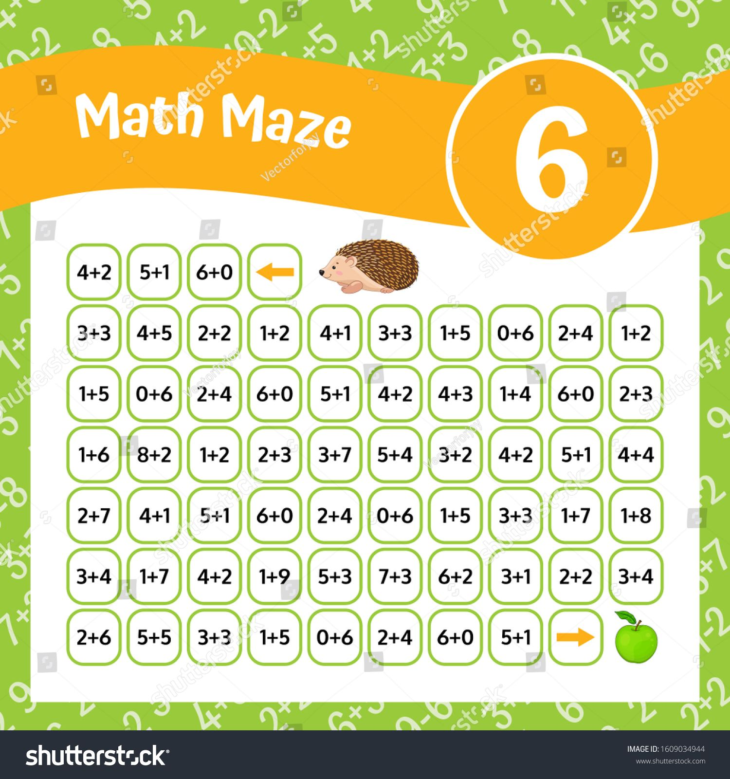 Math Maze Addition Worksheet Educational Game