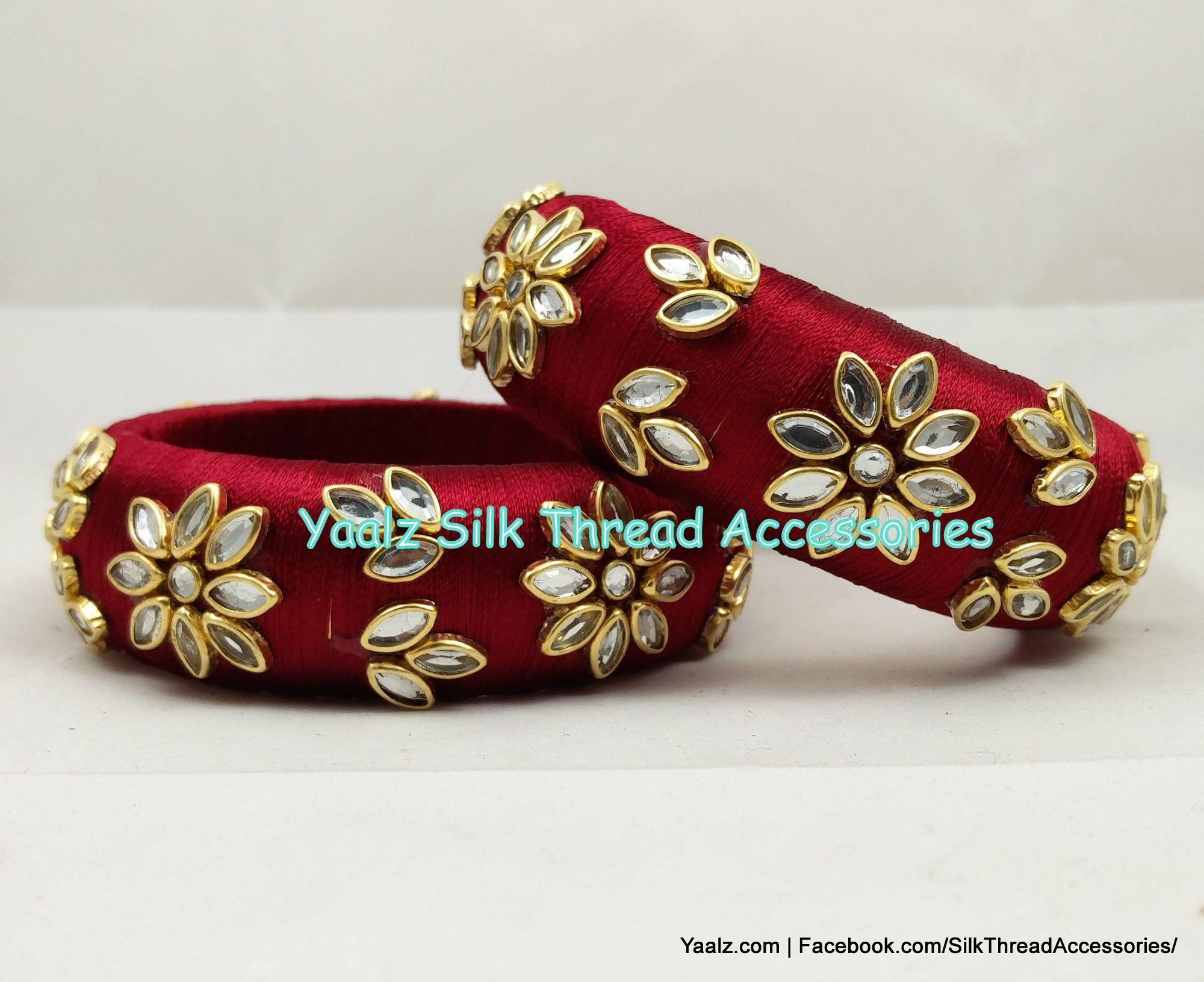 4d31efc13fdd7 Yaalz Kundan Stone Bangle Kada Pair In Maroon Color !! Price Rs.550 ...