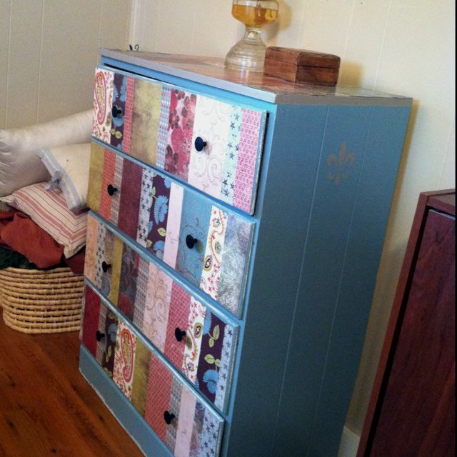 My $10 Goodwill Dresser, Painted And Decoupaged
