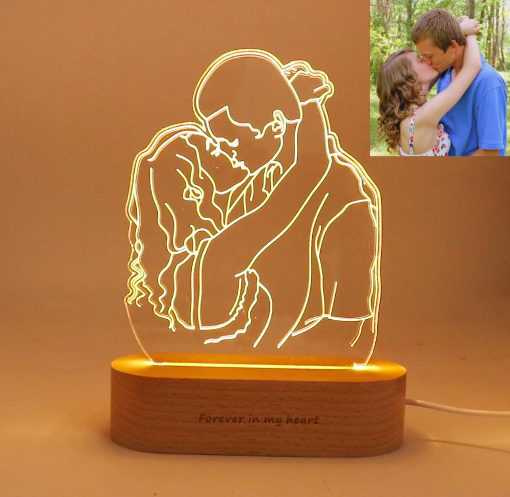 Custom Photo 3d Lamp Birthday Gift Anniversary Gift Cute Boyfriend Gifts Boyfriend Anniversary Gifts Photo Lamp
