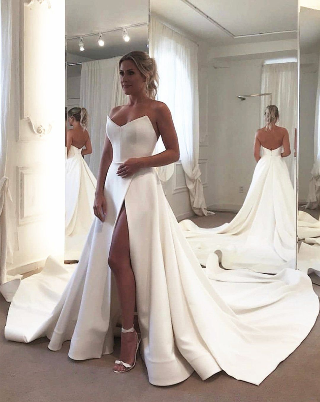 Strapless Bodice Corset Leg Slit Satin Wedding Dresses