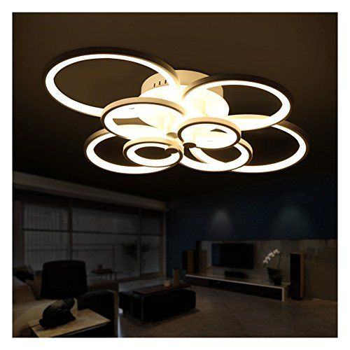 LED Crossed Rings Shape Hanging Lamps Remote Control Living Room Bedroom Modern Dimming Ceiling Lights 8