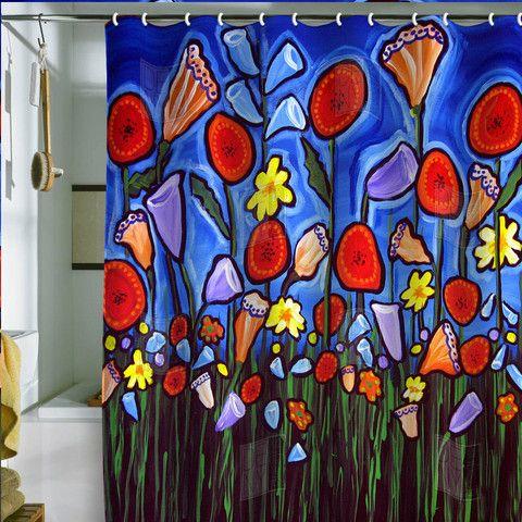Renie Britenbucher Fun Funky Flowers Shower Curtain