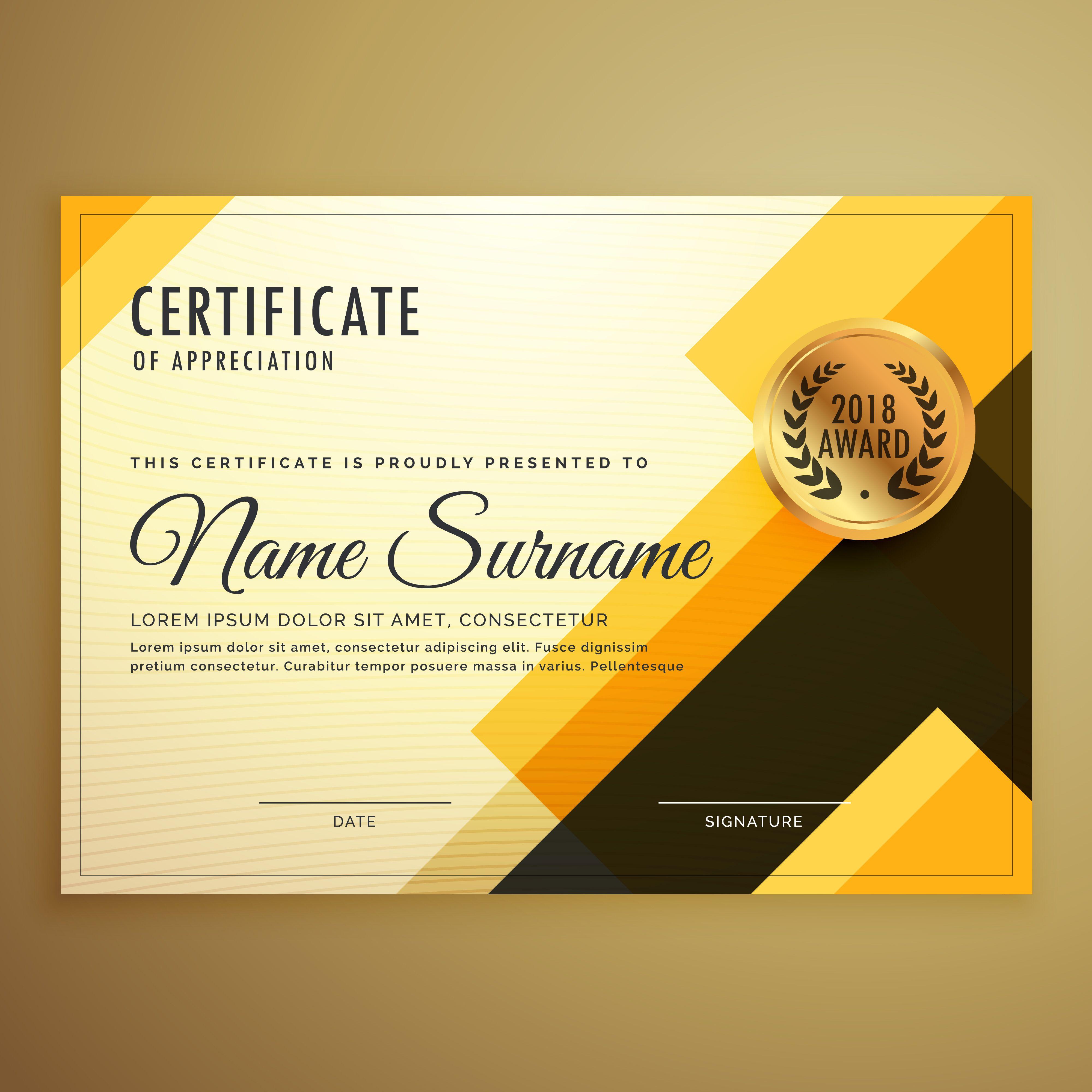 Modern Creative Certificate Design Template With Geometric Shape