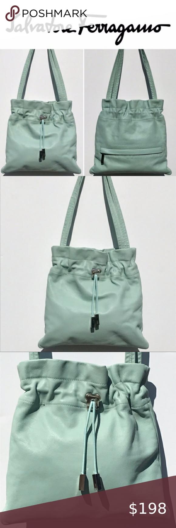 Light Blue Small Drawstring Bag
