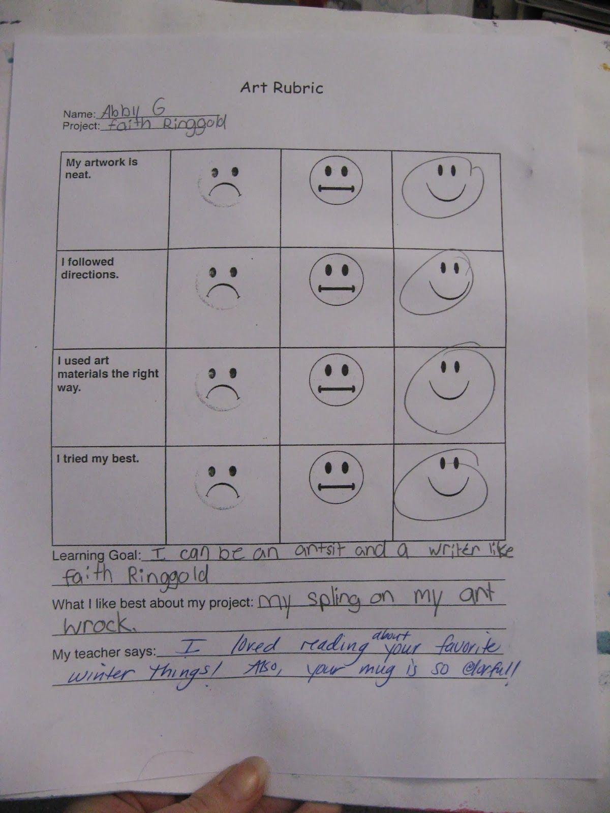 Good Idea For An Elementary Art Self Assessment