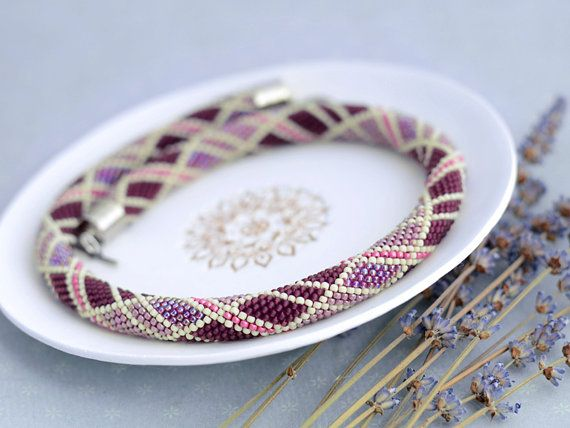 Bead+Crochet+Necklace+Plum+Jam+crochet+rope+for+by+Chudibeads
