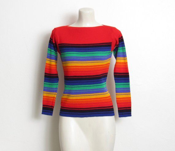 0f5f5b48db7 Vintage 1970s Rainbow Sweater   Multicolored Striped Acrylic Knit   Women s  70s Fitted Pullover