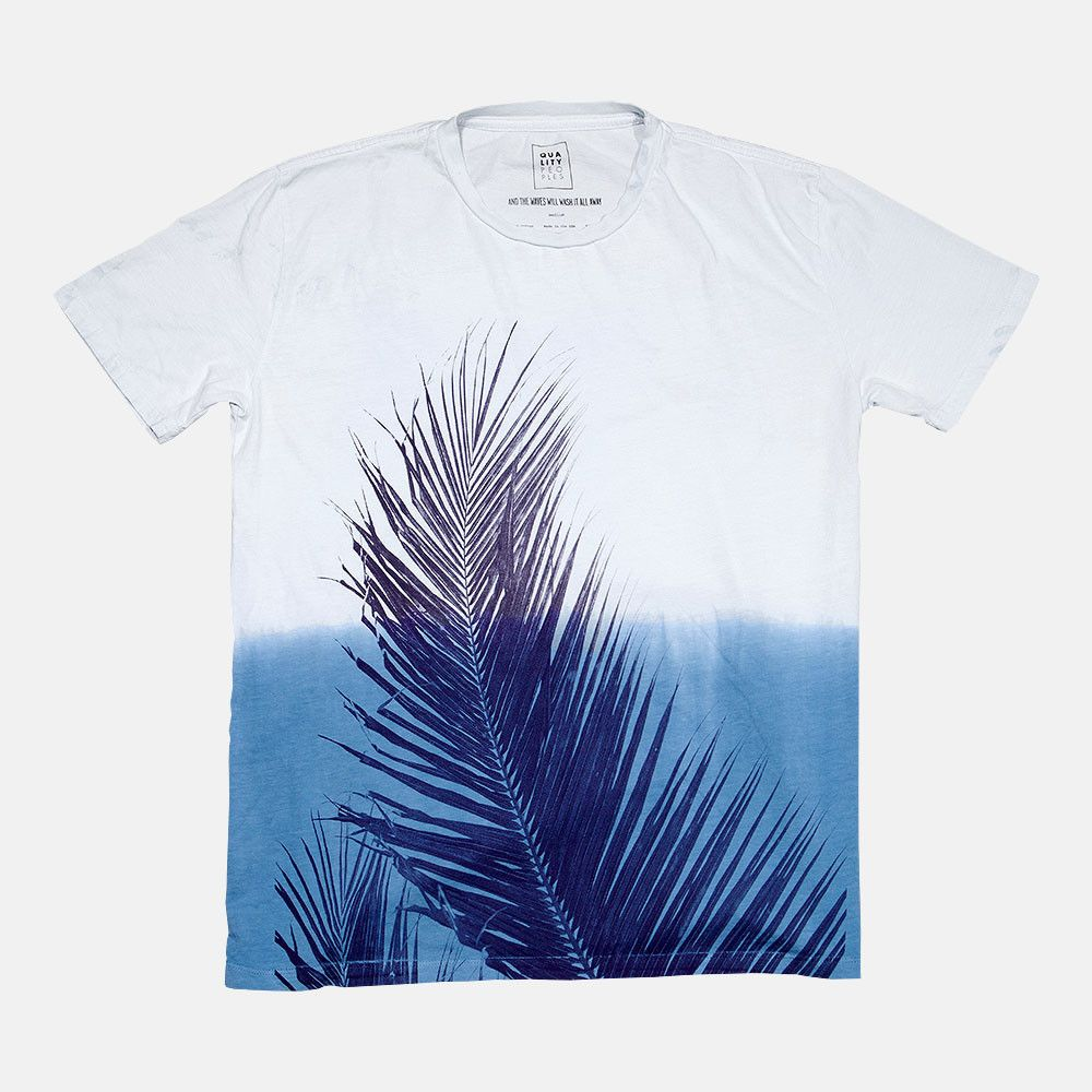 Quality Peoples T-Shirt Palm Dip-Dye Mens White Blue Front