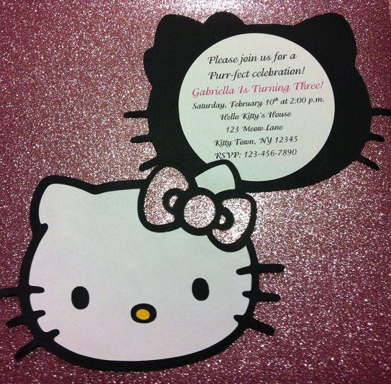 10 Hello Kitty invitations by GabbyCatCreations on Etsy, $15.00