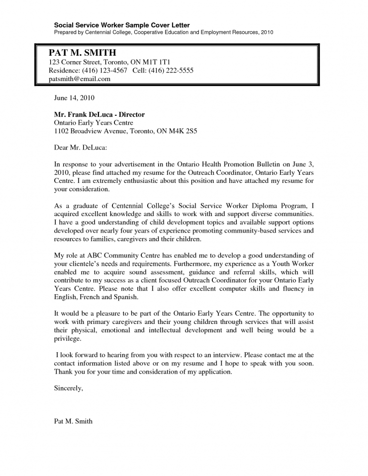 Cover Letter Simple 20 Cover Letter Template For: Social Services ...