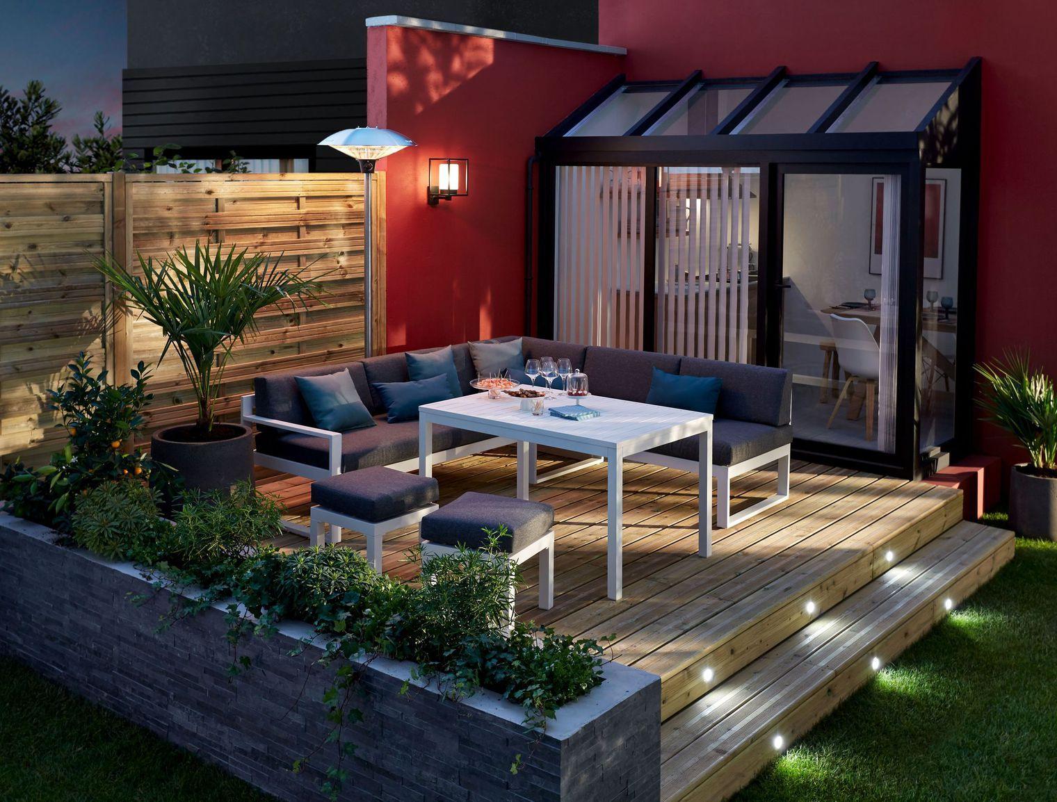 Terrasse sur lev e recherche google jardin inspiration pinterest outdoor spaces coffee - Terrasse jardin pinterest strasbourg ...