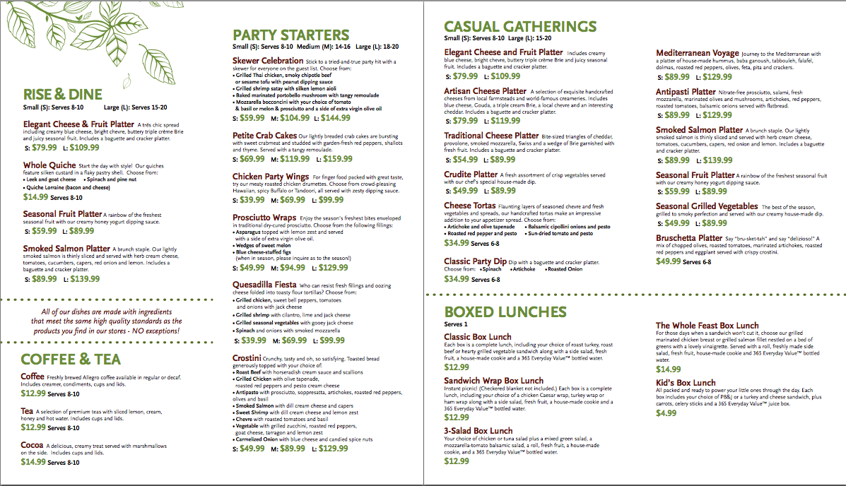 Whole Foods Catering Menu Dc