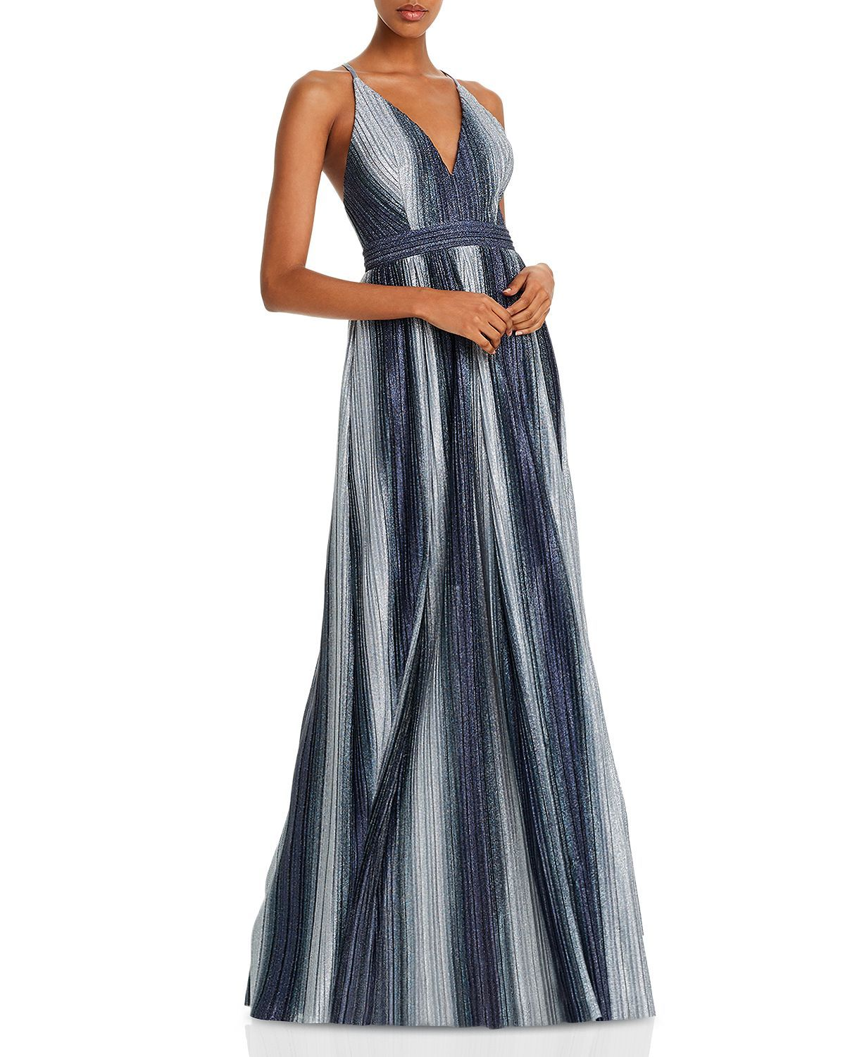 Aqua Striped Lurex Gown 100 Exclusive Women Bloomingdale S Neon Prom Dresses Bloomingdale Dresses Sparkly Prom Dresses [ 1500 x 1200 Pixel ]