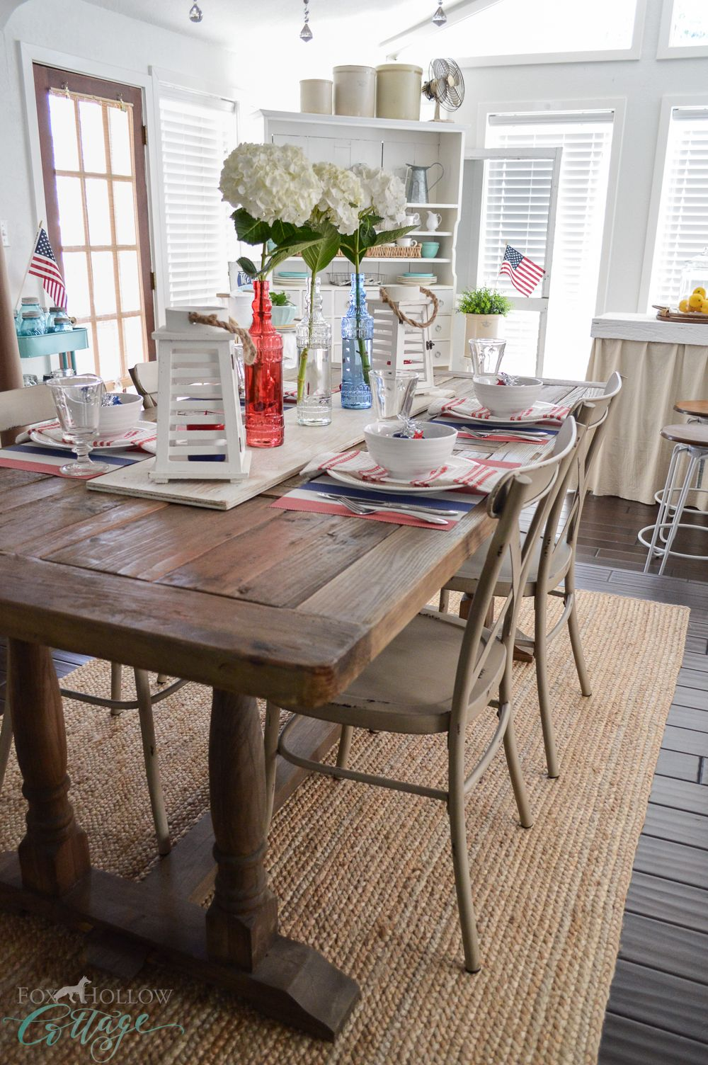 Patriotic kitchen - Cottage Farmhouse Patriotic Red White Blue Table Farm Table Fourth Of July Dollar