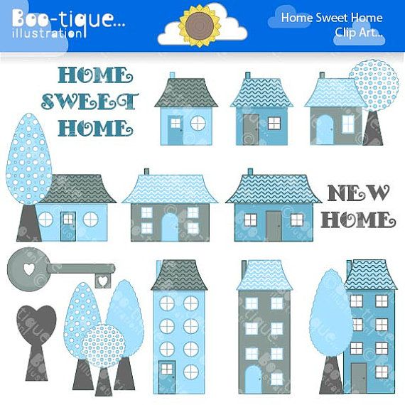 Home Sweet Home Digital Clipart For Instant Download Blue