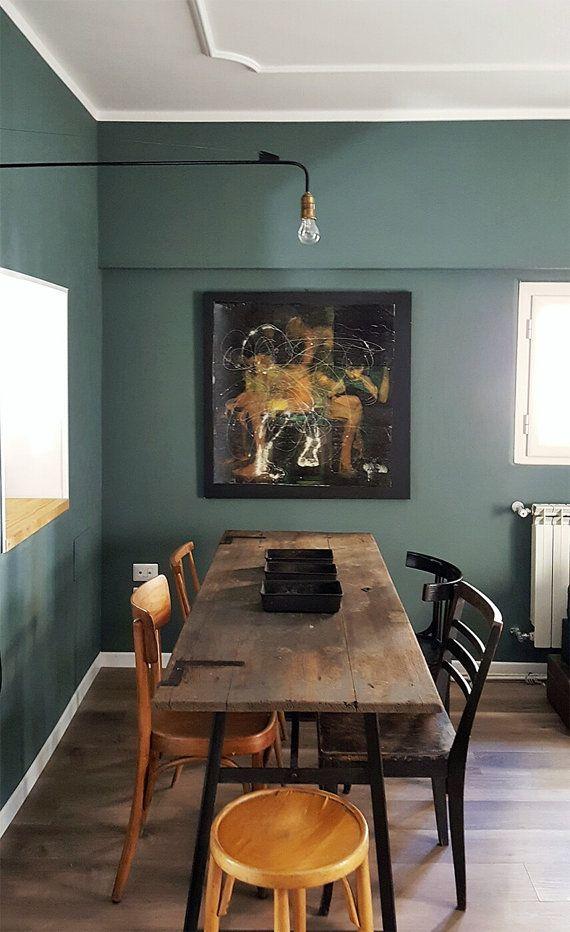 tavolo industriale da pranzo realizzato con antica porta in legno ... - Arredamento Industriale Antico