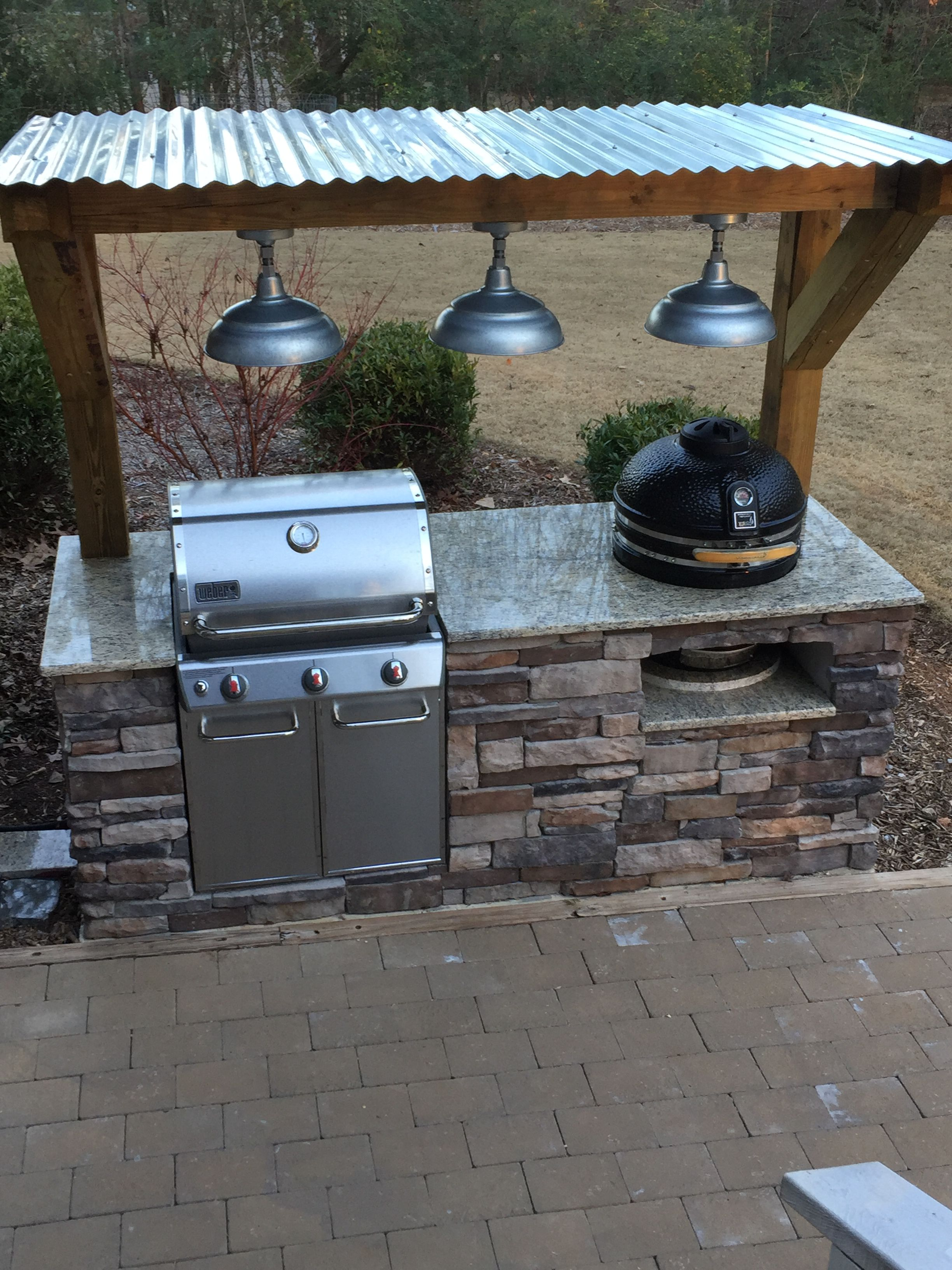 Outdoor Grill Stacked Stone Gas And Charcoal Outdoor Kitchen Patio Outdoor Grill Area Outdoor Grill Station