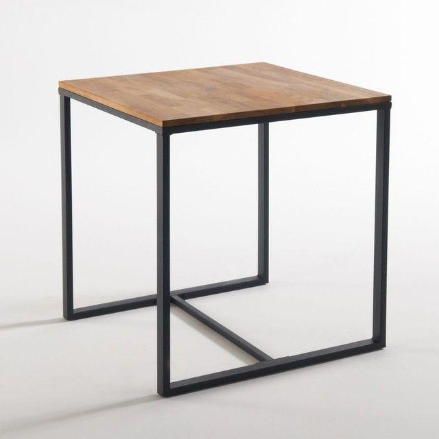 Table De Bistrot 2 Couverts Hiba Chene Massif Acier Mat Et Lignes Carrees Pour Une Table Format Bistrot Au Look Industr Table Bistrot Table A Rallonge Table
