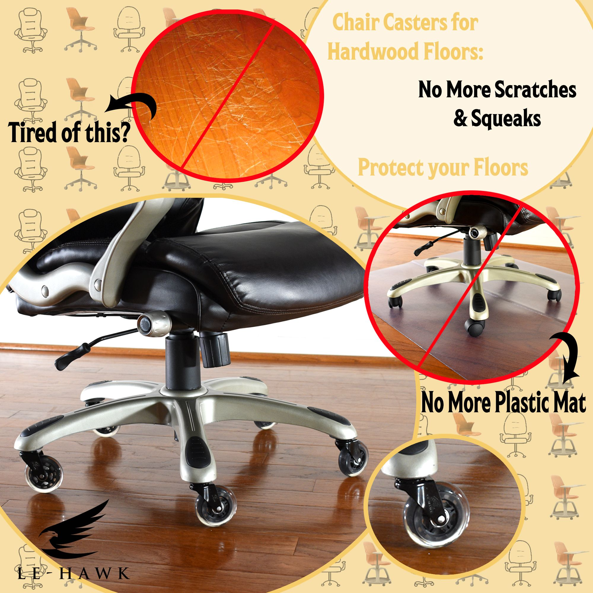 Safe For All Floors Caster Chairs Office Chair Wheels Plastic Mat