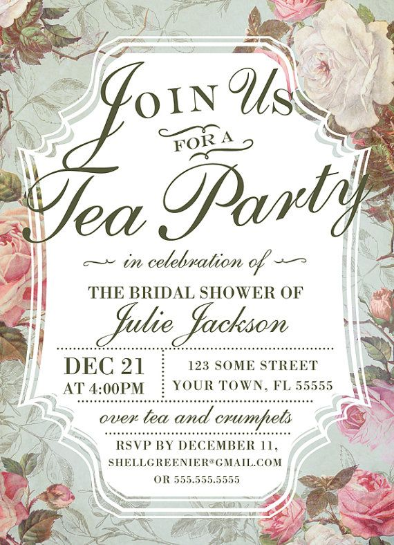 Bridal Shower Tea Party Invitation Template  Vintage Rose Shower