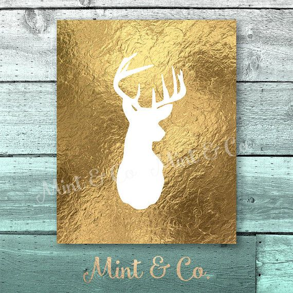 Deer Buck Stag Head Gold Foil Print Fall Wall ART PRINTABLE Instant ...