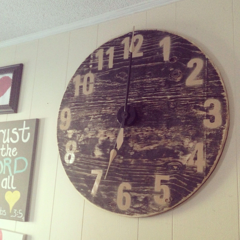 Diy large wall clock cut wood circle clock kit from hobby lobby diy large wall clock cut wood circle clock kit from hobby lobby paint amipublicfo Images