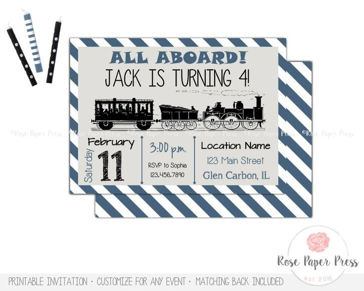 Train Birthday Invitation Vintage Party