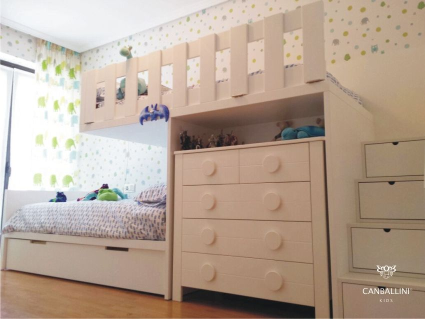 Litera tipo tren a medida para habitaciones infantiles y juveniles literas con dos y tres camas - Habitaciones juveniles tipo tren ...