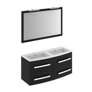 Meuble vasque l121 x H537 x P47 cm, noir Perla Leroy Merlin - salle de bain meuble noir