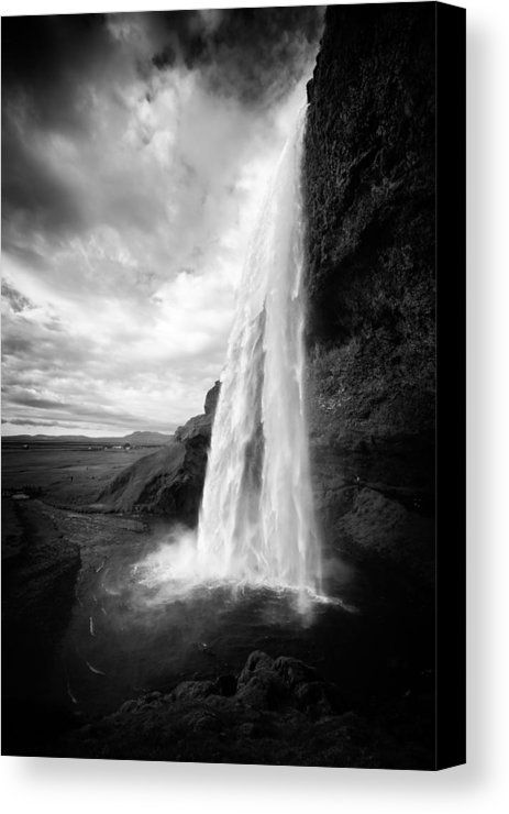 Iceland metal print featuring the photograph waterfall in iceland black and white by matthias hauser